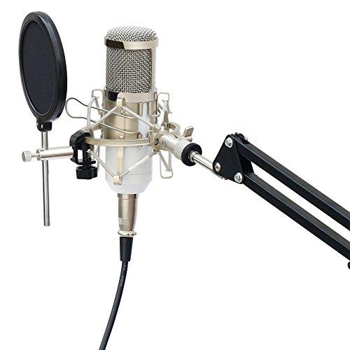 SOAIY® Mikrofon Spinne elastische Mikrofonhalterung Shockmount inkl. Popschutz für 43-46mm Mikrofon-Durchmesser -