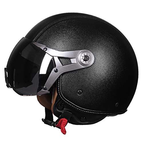 Qianliuk casco moto casco in pelle casco mezza motocross con visiera bianco rosso