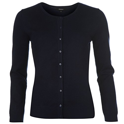 Mystify Damen Strickjacke Feinstrick Cardigan Langarm Gestickt Pullover Marineblau 12 (M) (Ribbed Cardigan Knit)