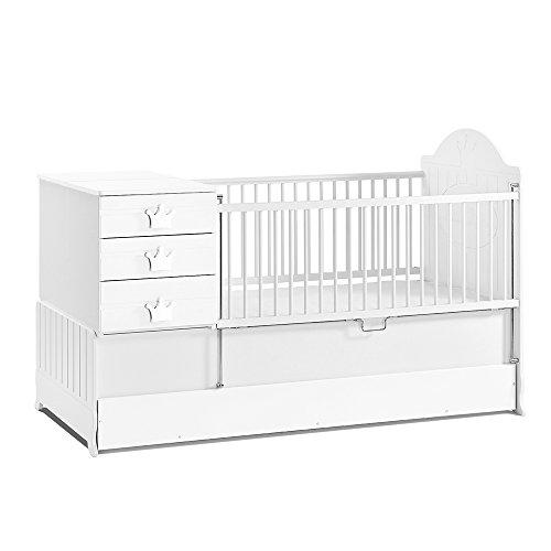 *Babyzimmer, Babymöbel, Kinderzimmermöbel, Kinderzimmer, Möbel, Kombination:Little King mitwachsendes Babybett – weiss*
