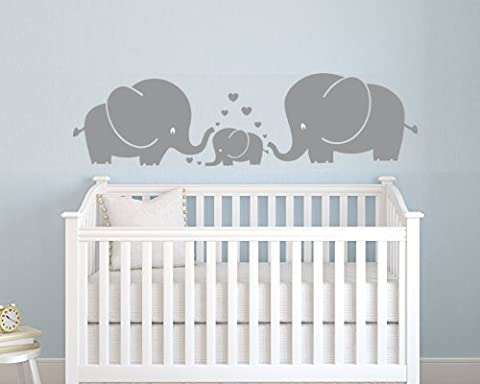 Three Cute Elephants parents and kid Family wall decal With Hearts Wall Decals Baby Nursery Decor Kids Room Wall Stickers (Grey) (Small)
