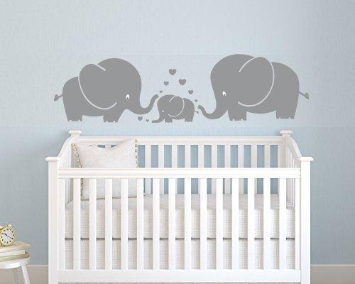 3süße Elefanten Eltern und Kind Familie Wand Aufkleber mit Herzen Wandsticker Baby für Kinderzimmer Kinder Zimmer Wand Aufkleber (grau), S (Vinyl-wand-aufkleber-elefant)