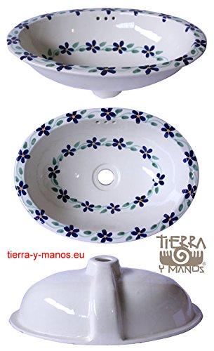 kleines, ovales Waschbecken, Motiv: Guia Violets, handbemalt, 41 x 30 cm