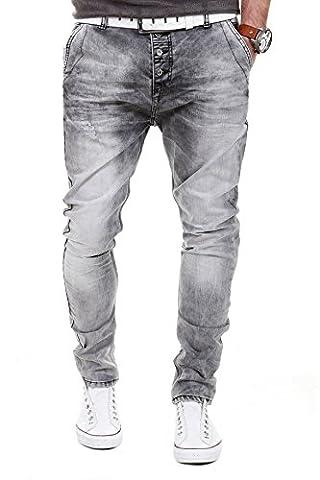 MERISH Jeans Hommes Sarouel Slim Fit Denim Delavé Modell J164 Gris W30