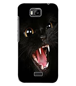 ColourCraft Black Cat Design Back Case Cover for HUAWEI HONOR BEE