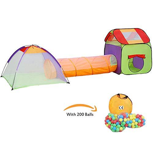 KExing Tenda Pieghevole Bambini Pop up Tunnel e Casa Portatile Leggero Tenda Parco Giochi Regalo Perfetto per Ragazzi Ragazze Piccoli Interno ed Esterno con 200 Palle e Borsa di Stoccaggio