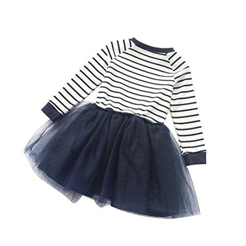 Amlaiworld Kind Mädchen Kleinkind Pageant Streifen Spleiß Langarm Kleid (130, Blau) (Besticktes Plissee-rock Floral)