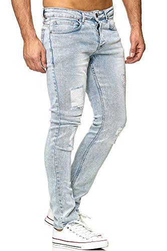 Tazzio Slim Fit Herren Destroyed Look Stretch Jeans Hose Denim 16525, Light-blue, 38W / 32L