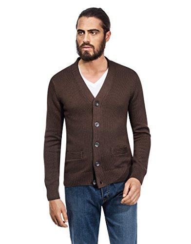VB–Cardigan da uomo, lavorato a maglia grossa, slim-fit Brown Large
