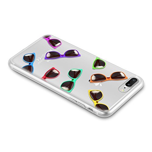 Cover iPhone 8 Plus Cover iPhone 7 Plus, JAMMYLIZARD [Sketch] Custodia in Silicone Trasparente Semi Morbido Ultra Slim con Disegno per Apple iPhone 8 Plus e Apple iPhone 7 Plus, CARTOON 7 OCCHIALI DA SOLE