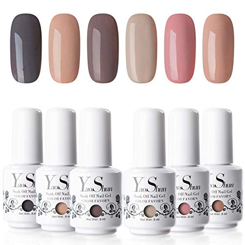 Y&S Soak Off Gel Nail Polish Sets 8ml UV LED Nail Gel Polish Varnish Manicure (#001) Pack of 6
