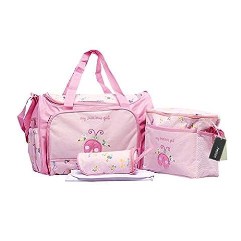 4pcs Stylish Designer Mummy Tote Waterproof Handbag Baby Diaper Nappy Changing Bag Set Nursing Messenger Bag Changing Mat Milk Bottle Holder