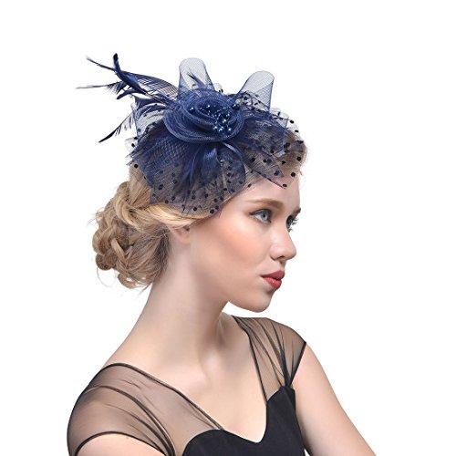 Donne Fascinator Clip del Cappello di Matrimonio con Veli Perline Piuma  Decorazione dei Capelli Accessori per Cerimonia (Blu navy) ed11d17f74fa