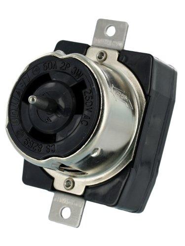 Leviton CS8269 50 Amp, 250 Volt AC, Black and White Locking Flush Mount Receptacle, Industrial Grade, Grounding, California-Style, Black by Leviton (Flush Leviton)