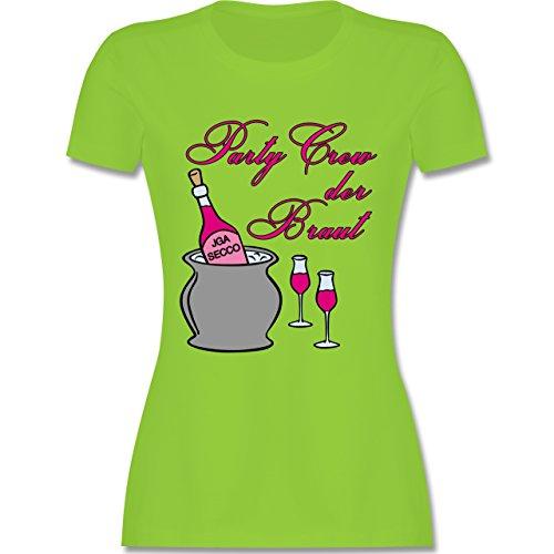 JGA Junggesellinnenabschied - Party Crew der Braut Sekt Party - tailliertes Premium T-Shirt mit Rundhalsausschnitt für Damen Hellgrün