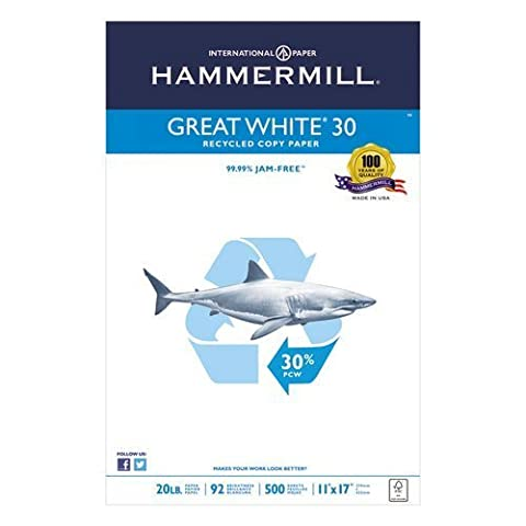 Hammermill Great White Recycled Copy Paper, 92 Brightness, 20Lb, 11