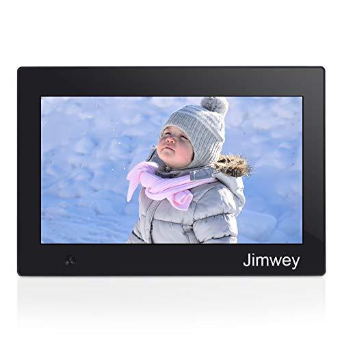 Jimwey Digitaler Bilderrahmen 10 Zoll Elektronischer Fotorahmen Werbeaufsteller für Video Musik Foto Wiedergabe mit Bewegungssensor Digitaluhr Kalendar Wecker 1080P HD Display Automatische Diashow