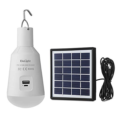 EleLight Multifunktionale Solar LED Glühbirne, 7W E27 Solar Camping Lampe Wiederaufladbare Notbeleuchtung mit USB Battery Power Bank für Telefon [Energieklasse A] Power Led-lampe