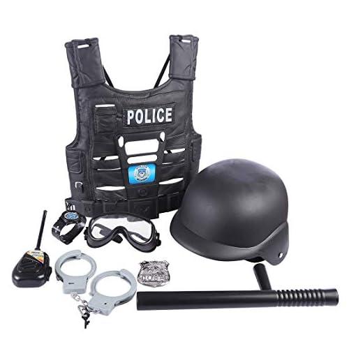 MAJOZ-8-Stcke-Polizei-Einsatzkommando-Set-fr-Kinder-Kinderkostm-Polizei-mit-Handschellen-und-Polizei-Mtze-Schlagstock-Polizei-HelmHandschellen-Walkie-Talkies-usw