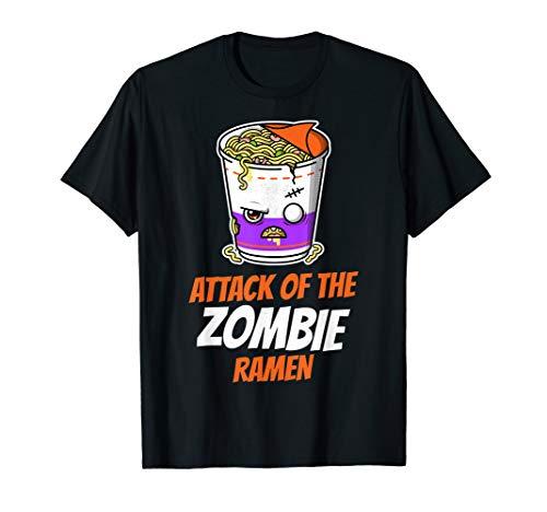 Angriff der Zombie Ramen Nudeln Lustiges Halloween T Shirt (Last Minute Anime Kostüm)