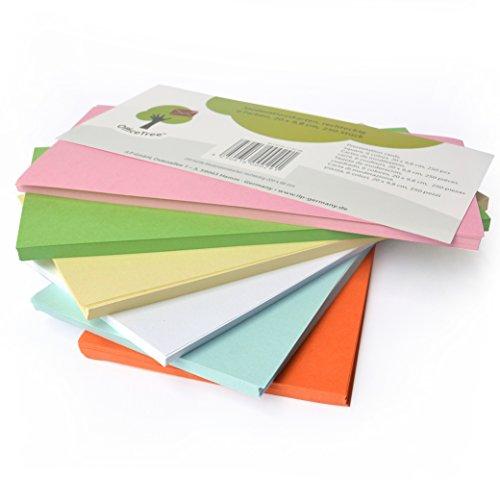 OfficeTree ® Moderationskarten rechteckig 20x9,8 cm - 130 g/qm 250 Stk. 6 Farben - unverzichtbar für professionelle Präsentation Gesprächsleitung Moderation - Unterstützung im Unterricht Meeting Büro