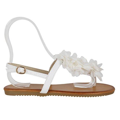 Damen Dianetten | Blumen Sandalen Zehentrenner | Sommer Schuhe Flats | Beach Zierperlen Weiss Creme nyi6X5PU1e