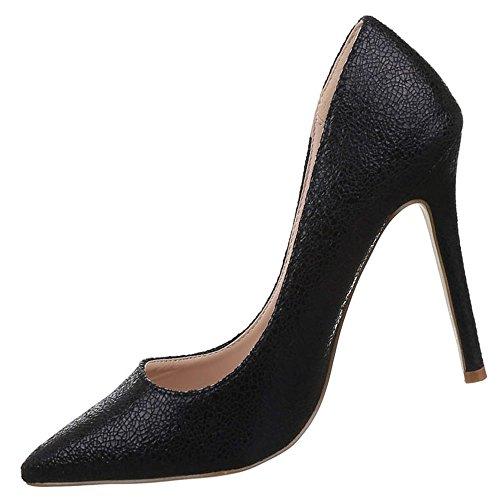 Damen Pumps Schuhe High Heels Stiletto Abendschuhe Schwarz Pink 36 37 38 39 40 41 Schwarz
