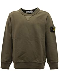 Stone Island 7124Y Felpa Bimbo Boy Junior Army Green Cotton Sweater 5b52a57404f