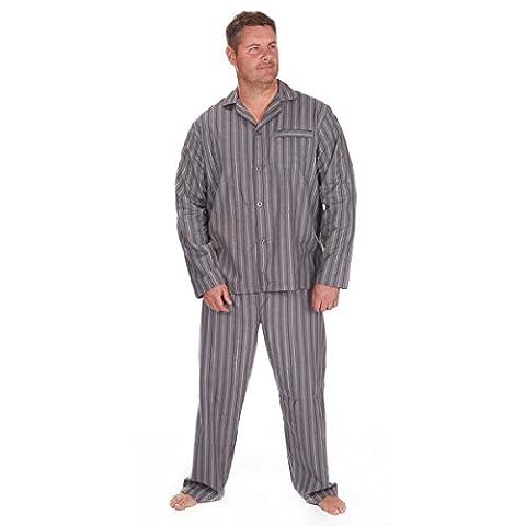 Men's Flannel Pyjama PJ Set Thermal Top Bottoms Button Down Nightwear 3XL-5XL
