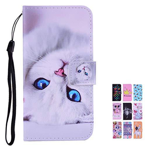 E-Panda kompatibel mit Samsung Galaxy A5 2017 Hülle Weiße Katze, PU Leather Wallet Cover Muster Design Flip Case Handyhülle Lederhülle Tasche Etui schutzhülle mit Kartenfach