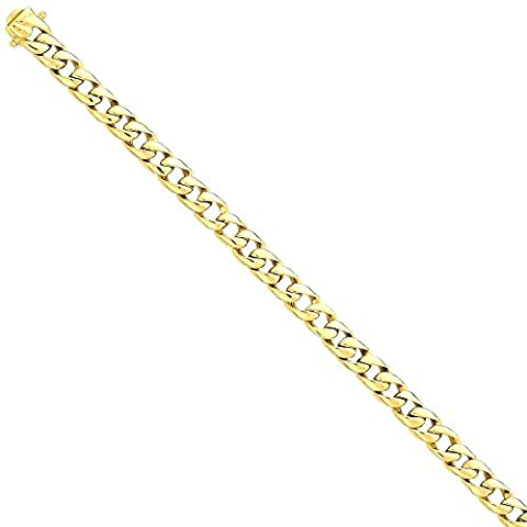 IceCarats 14k Yellow Gold 7.75mm Solid Hand Curb Cuban Link