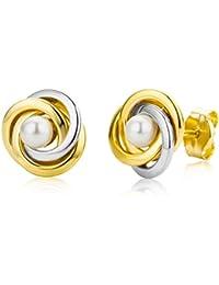 Miore Damen-Ohrstecker 9 Karat 375 Gelbgold knot weiße Perlen MA9005E