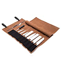 QEES Chef Knife Roll Bag, 16 Oz Waxed Canvas Waterproof Zipper Tool Bag 15 Slots Kitchen Utensils Blade Display Storage Bag, Gift for Dad and Husband (1#Khaki)