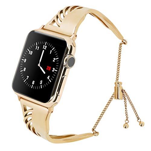 WAOTIER für Apple Watch 38mm Armband 40mm Armband Edelstahl Armband Durchbrochene Muster Armband für Apple Watch Series 4/3/2/1 mit Klettverschluss Armband für iWatch 38mm 40mm (Gold)
