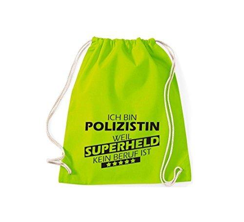 Shirtstown Borse palestra Sono Poliziotta, perché Super eroe niente Occupazione è - grigio, 37 cm x 46 cm lime