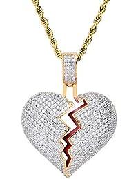 9cf11f42907e Bokning Hip Hop Collar de Corazón Roto y Helado con Diamante Simulado -  Rapero Fresco Corazón