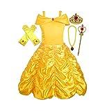 ALEAD Costume da Principessa Belle Vestiti ed Accessori di Guanti, Diadema, Bacchetta Magica Collana (3-4 Anni)