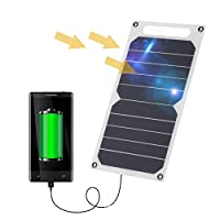 Zuukoo Solar Charger, 10W 5V Portable Solar Panel with USB Port Ultra Thin Silicon Solar Charger For Multi Phones…