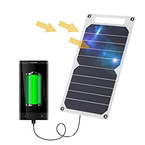 Zuukoo Cargador Solar, 10W 5V Panel Solar Portátil Batería Externa Power Bank con Puerto USB Cargador Móvil para Teléfonos Tabletas Carga de Emergencia en Acampar al Aire Libre Viajar
