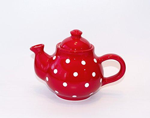UNGARNIKAT Keramik Kaffeekanne Rot mit handbemalten Weißen Punkten 0,75 L (Rot)