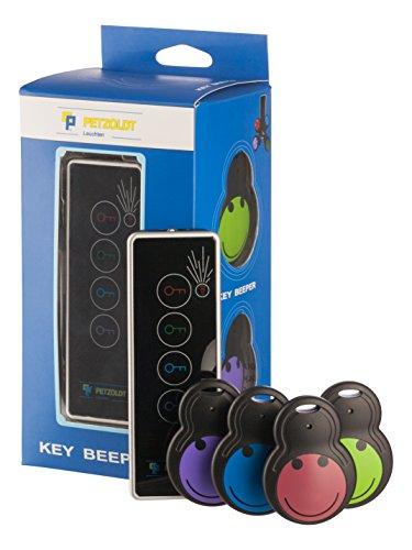 Schlüsselfinder Funk KEY-FINDER – Der schnelle Weg Dinge zu finden! Der Key-Beeper ist mit akustisch 75Db++ ein lauter Tracker. Zubehör: 1 Sender, 4 Empfänger sowie 5 + 2 extra Batterien – ohne Bluetooth