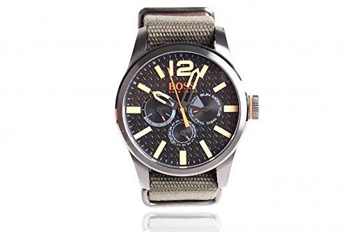 Reloj Hombre Hugo Boss Orange Reloj 1513312 Cronógrafo - Pulsera Cinta Grosgrain Verde - Dial Negro