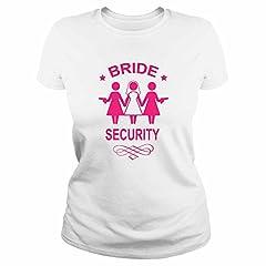 Idea Regalo - IDEAMAGLIETTA AN0003 T-Shirt Maglietta Donna Bride Security Sposa Addio al Nubilato Idea Regalo Divertente Ironica (S, Bianco)