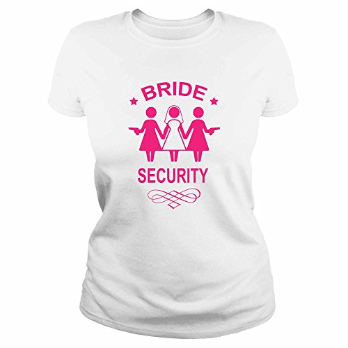 Ideamaglietta an0003 t-shirt maglietta donna bride security sposa addio al nubilato idea regalo divertente ironica (xl, bianco)