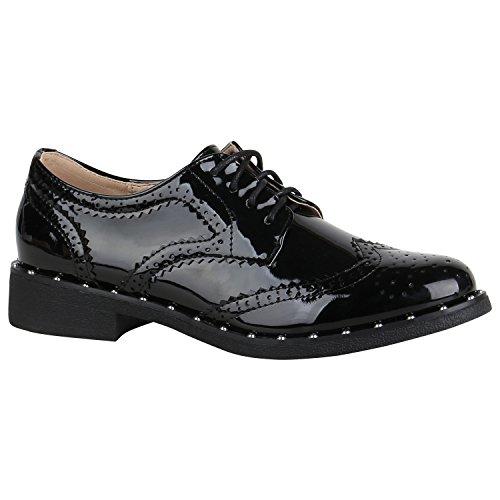 Stiefelparadies Damen Schuhe Halbschuhe Brogues Lack Übergrößen Schnürschuhe Blockabsatz 156046 Schwarz Nieten Lack 37 Flandell