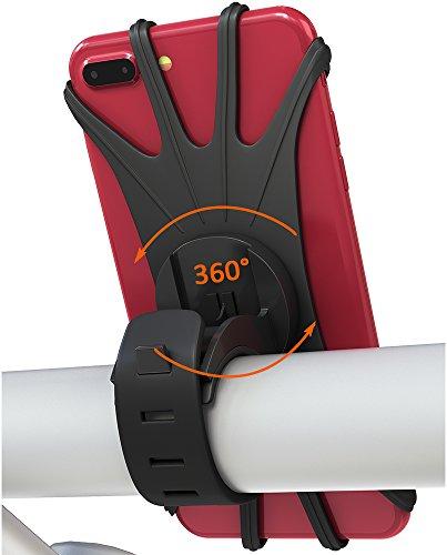 Foto de Matone Soporte Movil Bicicleta, Soporte Universal Manillar de Silicona para Bicicleta Motocicleta, Apoyo 360° Rotación para iPhone X, 8/8 Plus, 7/7 Plus, 6/6s, Samsung Galaxy y 4.0