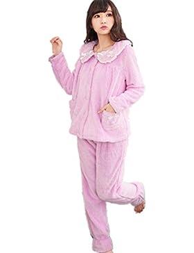 DMMSS Accappatoio donna corallo del panno morbido ispessito bavero manica lunga pigiama Set , purple , xl
