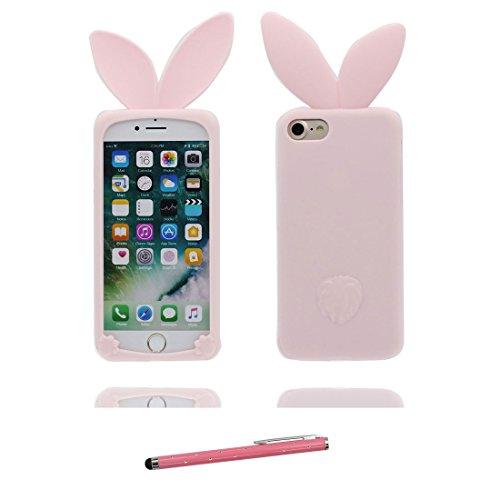"""iPhone 6 Coque, iPhone 6S Étui Cover Housse pour iPhone 6s 4.7 """" Cartoon 3D lapin oreille TPU Gel TPU Shell iPhone 6 Case (4.7"""") Résistant à la poussière Scratch Cute Pink et stylet Pink 2"""