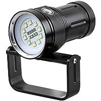 Tauchen Taschenlampe Taschenlampe, 10000Lumen Wasserdicht U-Boot Leuchte mit 10XM-L2LEDs + 4rot LEDs + 4blaue LEDs für Unterwasser Professional Scuba Fotografie