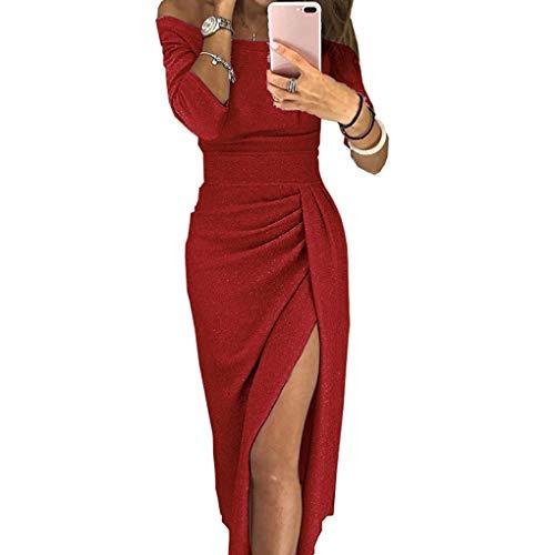 Meisijia Frauen-Boot-Ausschnitt dünner glänzendes Abend Dinner Party Prom Slit-Bleistift-Kleid,rot,L -